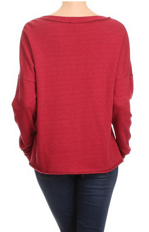 Red Terry Notch Neck Pullover