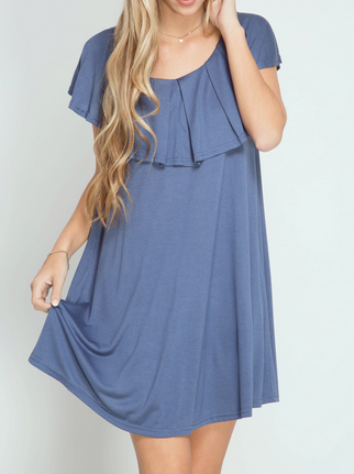 Neck Ruffle Swing Dress