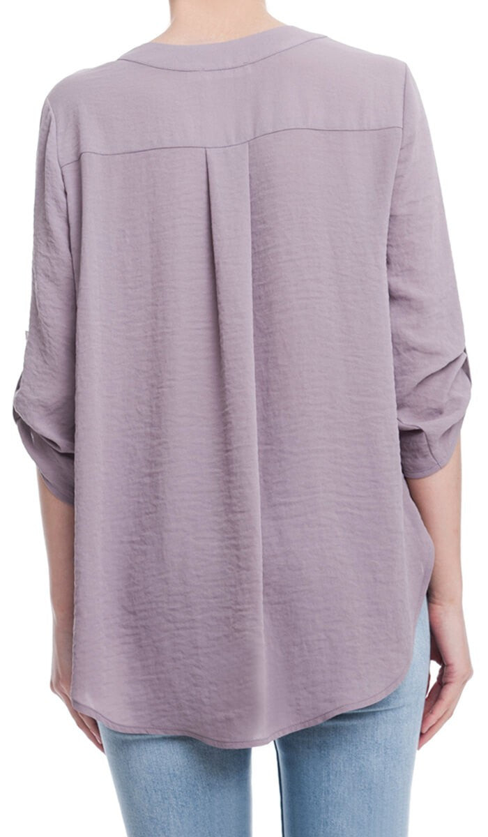 Roll Sleeve Woven Top