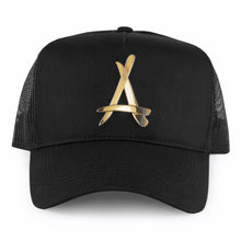 Load image into Gallery viewer, 24K BLACK MESH TRUCKER HAT