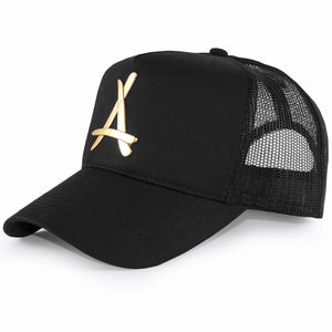 24K BLACK MESH TRUCKER HAT