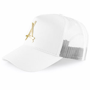 24K WHITE MESH TRUCKER HAT