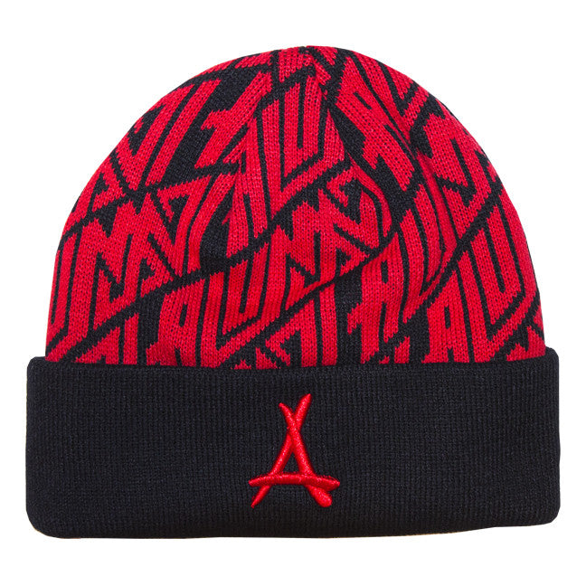AZTEC BEANIE (BLACK + RED)