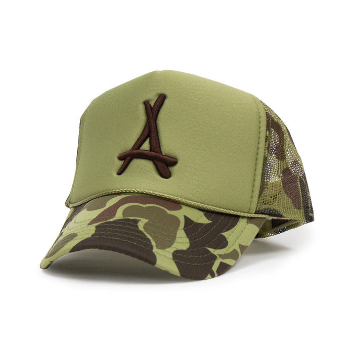 DUCK CAMO FOAM TRUCKER  (MILITARY GREEN)