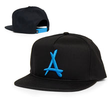 "Load image into Gallery viewer, CLASSIC ""A"" SNAPBACK (BLACK + ELECTRIC BLUE)"