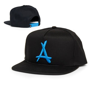 "CLASSIC ""A"" SNAPBACK (BLACK + ELECTRIC BLUE)"