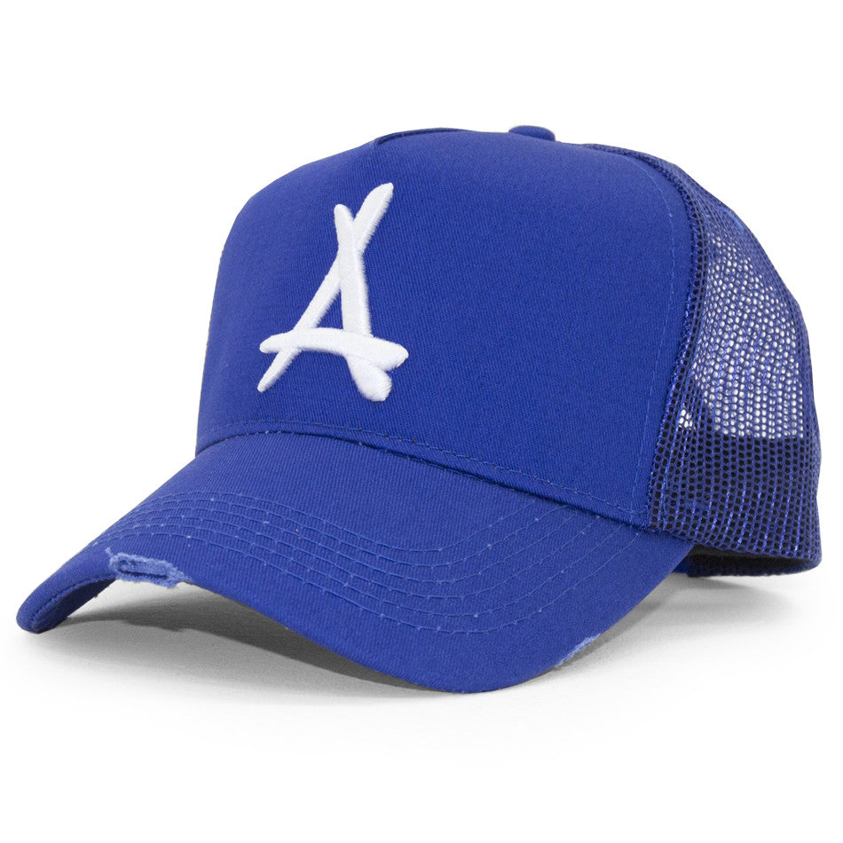 DISTRESSED MESH TRUCKER (ROYAL)