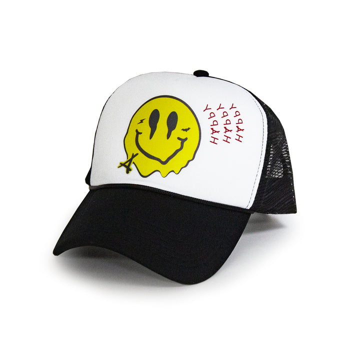 SMILEY FOAM TRUCKER  (WHT/BLK)
