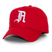 "Load image into Gallery viewer, OLD ENGLISH ""A"" SNAPBACK (RED)"