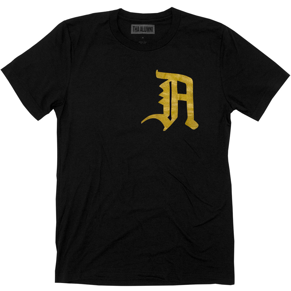OLD ENGLISH LOGO TEE (BLACK + GOLD)