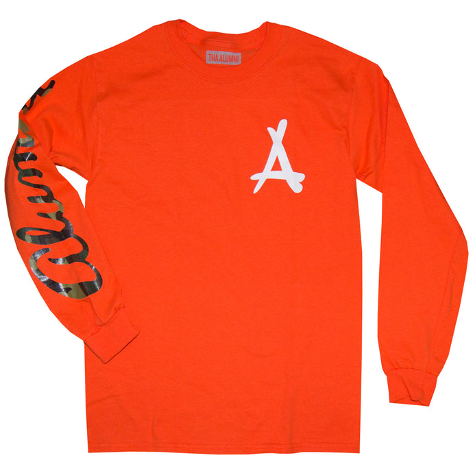 LONG SLEEVE SCRIPT TEE (ORANGE + CAMO)