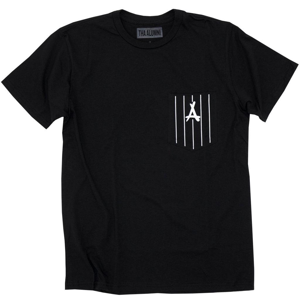 PINSTRIPE POCKET TEE (BLACK)