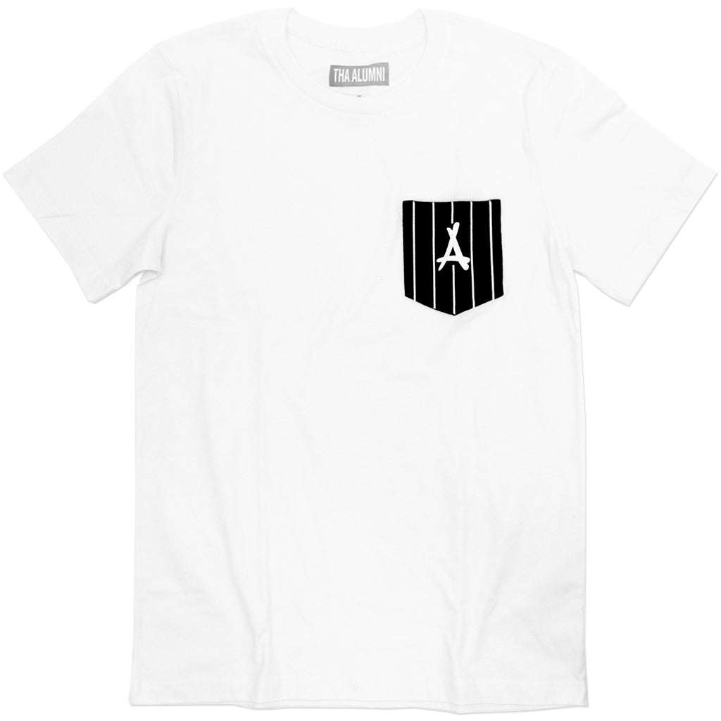PINSTRIPE POCKET TEE (WHITE)