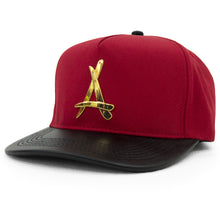 Load image into Gallery viewer, 24K PRESIDENTIAL (RED + BLACK LEATHER BRIM)