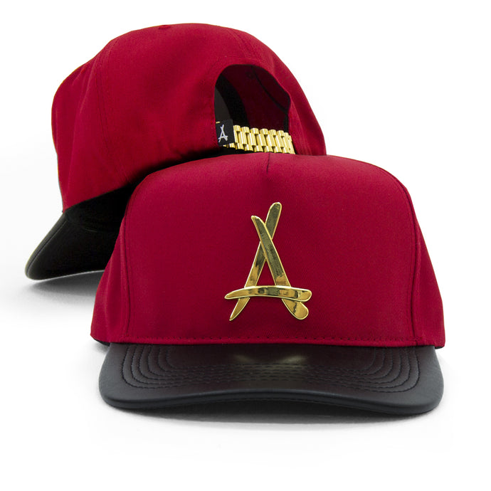 24K PRESIDENTIAL (RED + BLACK LEATHER BRIM)