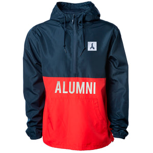 PULL-OVER WINDBREAKER (NAVY + RED + SILVER)