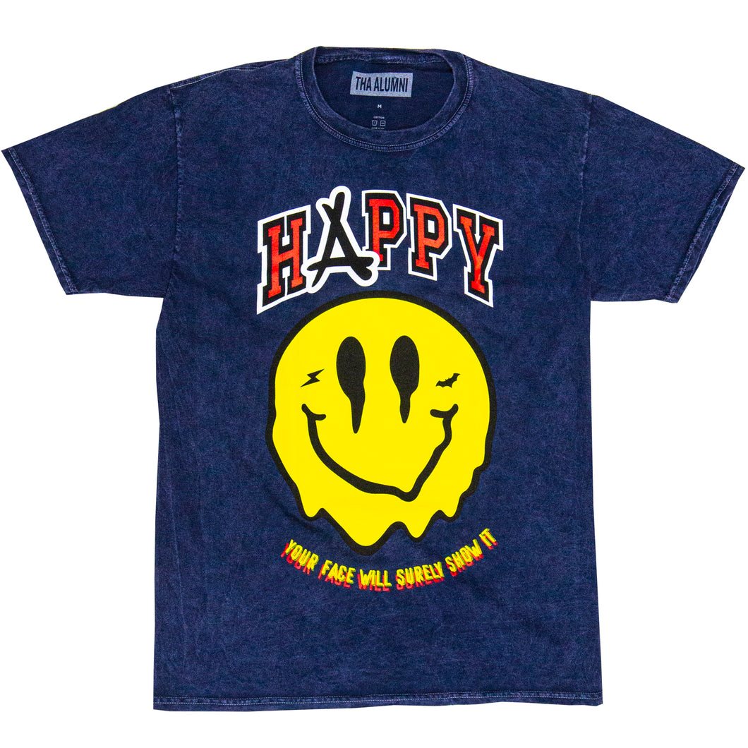 SMILEY ACID WASH TEE (BLUE)