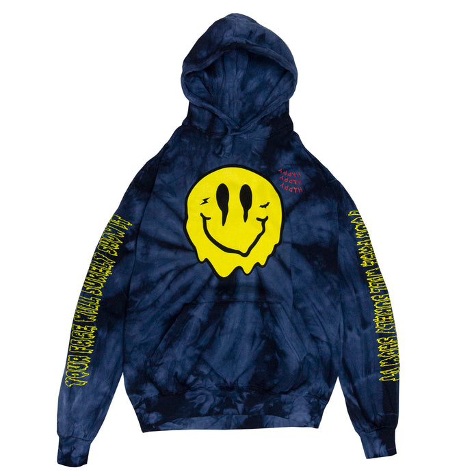 SMILEY TIE DYE HOODIE (DARK BLUE)