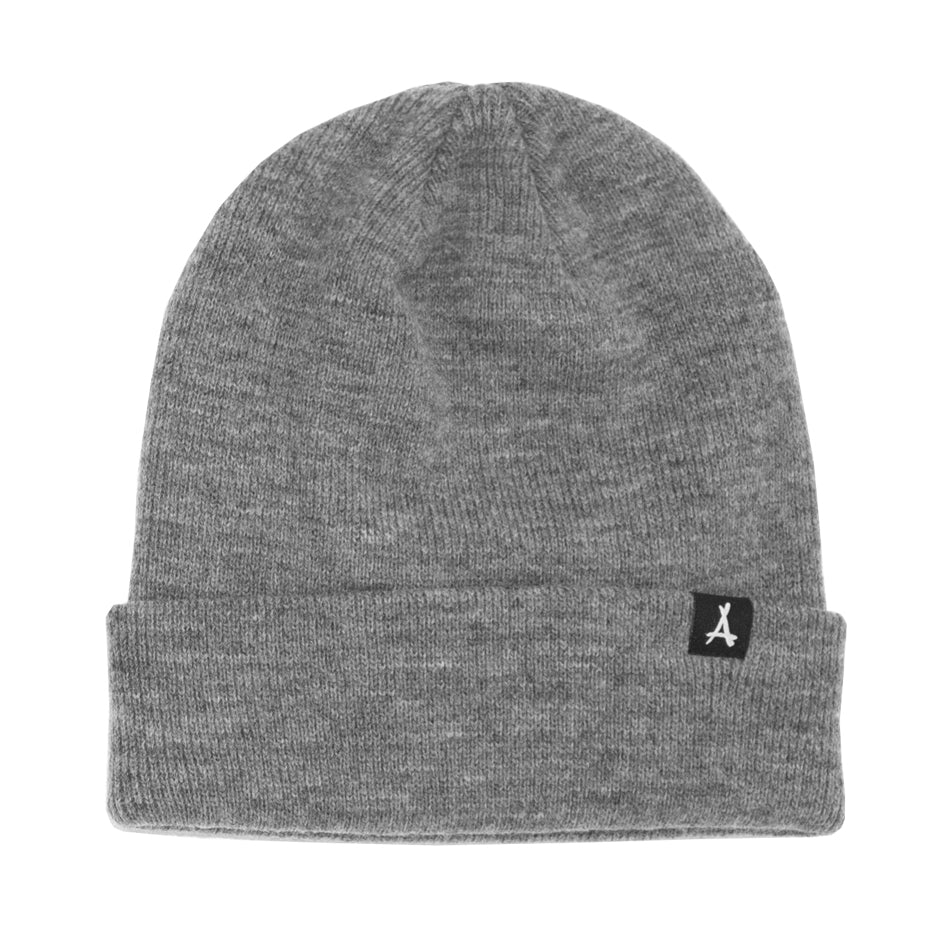 WOVEN LABEL BEANIE (GREY)
