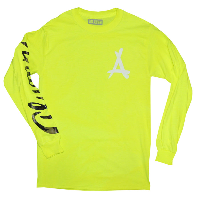 LONG SLEEVE SCRIPT TEE (NEON YELLOW + CAMO)