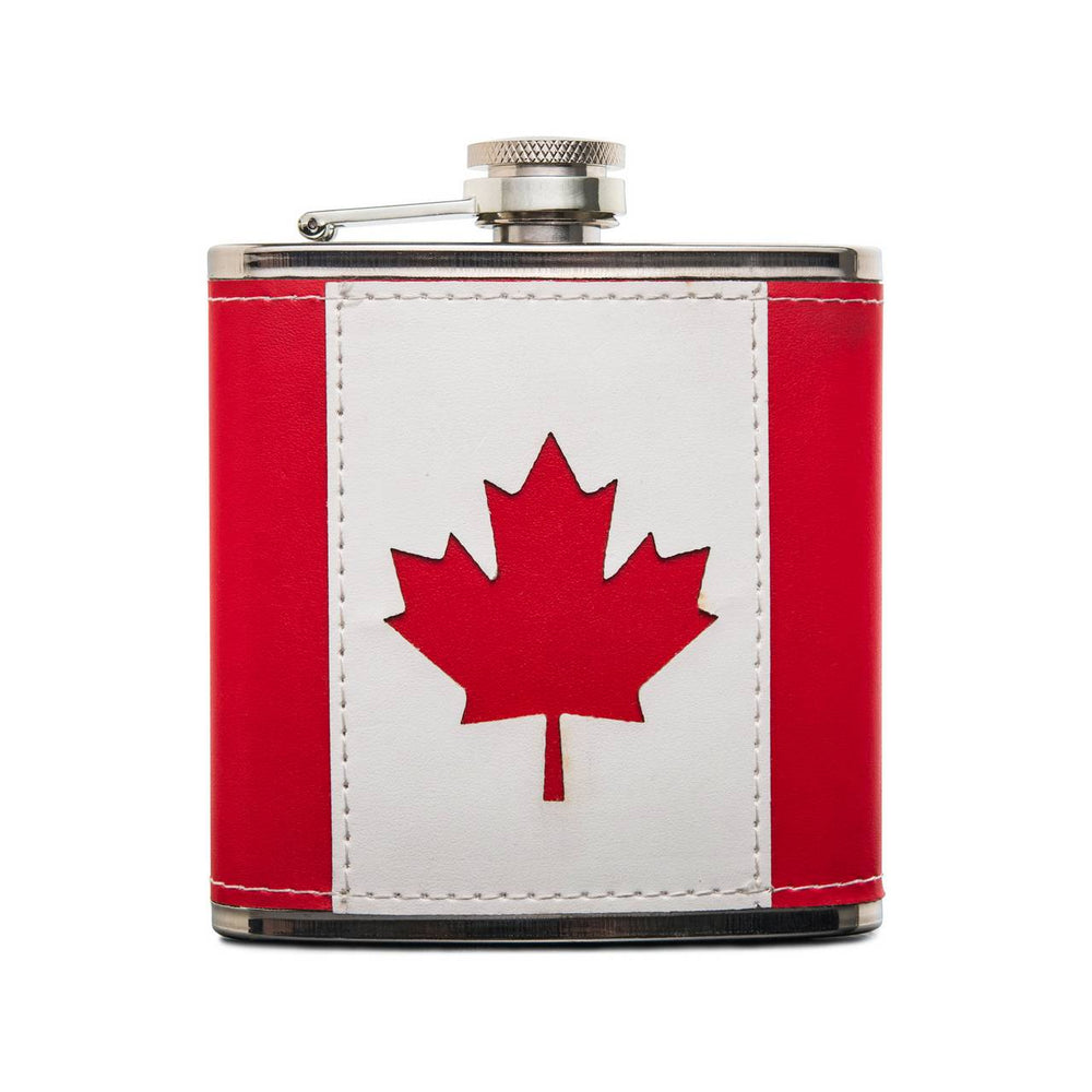 CANADA FLAG LEATHER FLASK