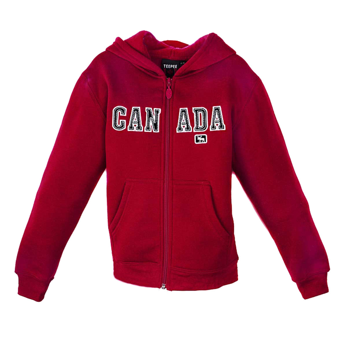CHILDRENS CANADA RED FLEECE HOODY