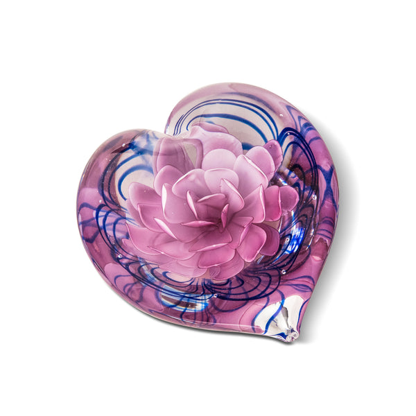 PAPERWEIGHT ROSE HEART