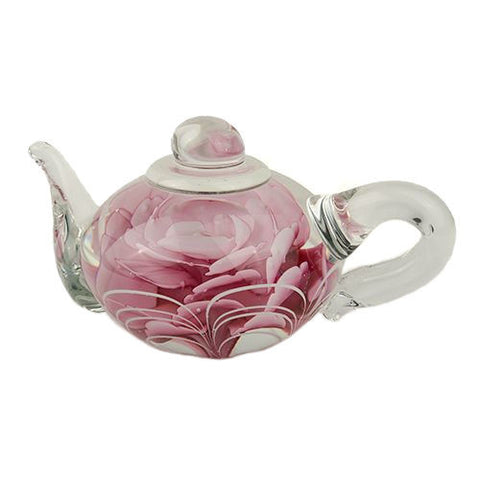 PAPERWEIGHT TEAPOT PINK ROSE