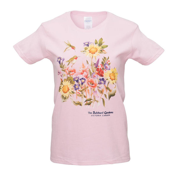 LADIES HUMMINGBIRD PINK T SHIRT