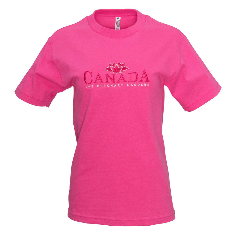 LADIES EMBROIDERED PINK CANADA T SHIRT
