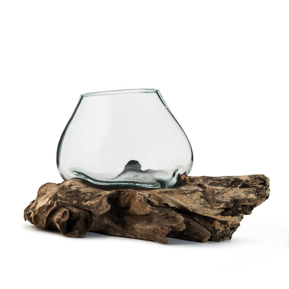 VASE GLASS & DRIFTWOOD SMALL
