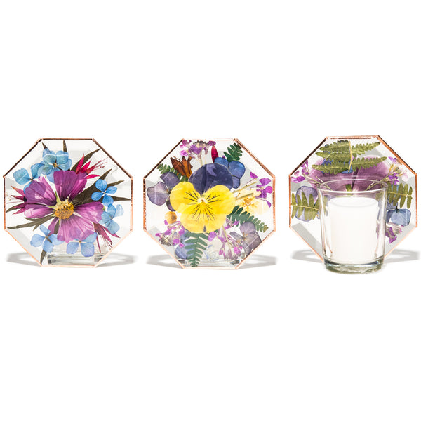 VOTIVE FLORAL CANDLE HOLDER HEXAGON