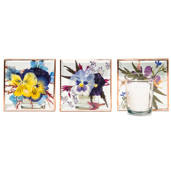 VOTIVE FLORAL CANDLE HOLDER SQUARE