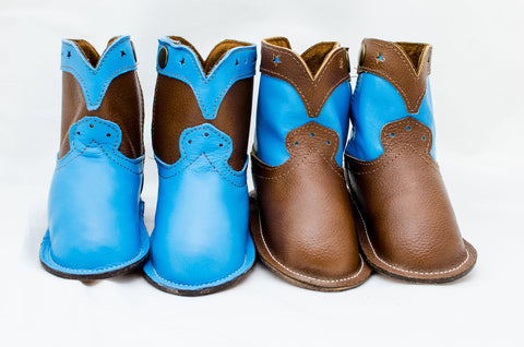 True Blue and Chocolate Brown Show Boots