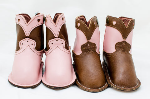 Baby Girl Pink and Chocolate Brown Show Boots