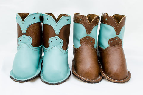 Classic Turquoise and Chocolate Brown Show Boots