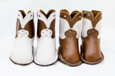 Marshmallow White and Chocolate Brown Show Boots