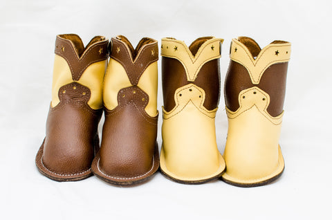 Sunny Yellow and Chocolate Brown Show Boots