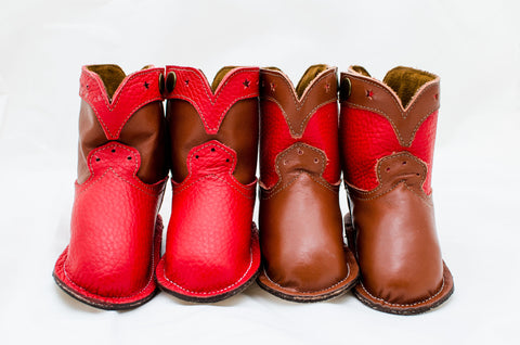 Candy Apple Red and Chocolate Brown Show Boots