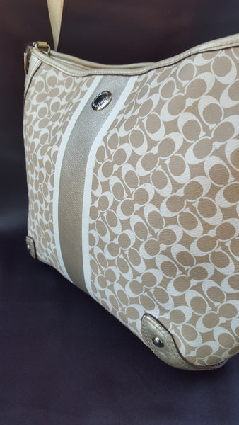 White & Beige Logo COACH Shoulder Bag