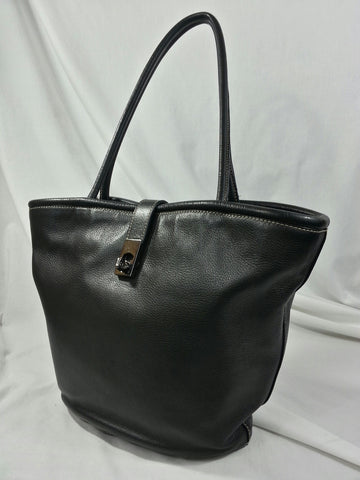 Black Leather Bettina Handbag
