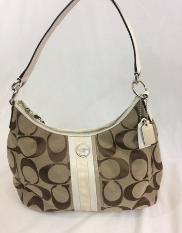 Coach Purse with Large Tan Logo Print