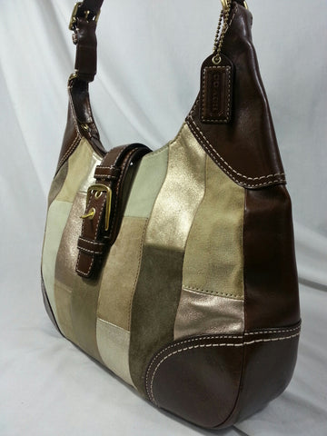 Coach Metallic Brown Leather Patchwork Hobo Handbag - F11217