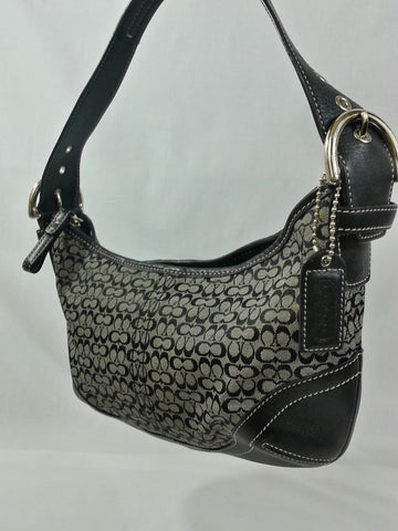 Small Coach Signature Logo Jacquard Hobo Handbag - K3K-6351