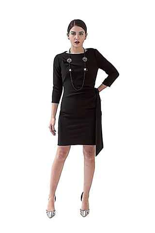 THE  COCKTAIL  COLLECTION DAVID MAISON 2017-DM5255DBLK- BLACK SHEATH DRESS