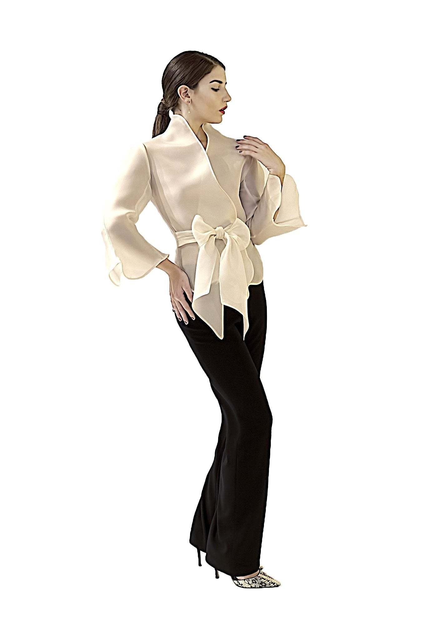COCKTAIL COLLECTION DAVID MAISON  - DM5136T-W BSILK GAZAR WRAPPED TOPCOCKTAIL COLLECTION DAVID MAISON  - DM5136T-W BSILK GAZAR WRAPPED TOP, THE COCKTAIL COLLECTION 2017, DAVID MAISON, DAVID MAISON  - DAVID MAISON