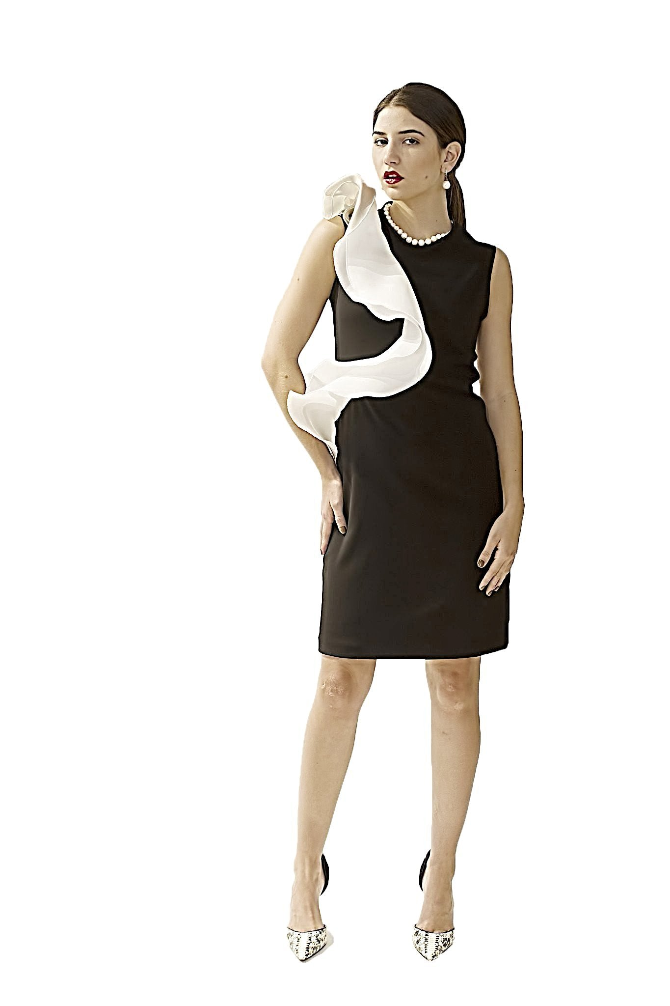 BLACK AND WHITE DAVID MAISON DM-4896D-B/W  COCKTAIL RUFLE DRESSBLACK AND WHITE DAVID MAISON DM-4896D-B/W  COCKTAIL RUFLE DRESS, THE BLACK AND WHITE DRESS COLLECTION 2017, DAVID MAISON, DAVID MAISON  - DAVID MAISON