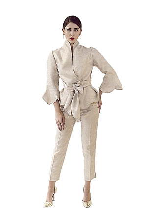 RESORT COLLECTION DAVID MAISON DM-5385T-GOLD LINEN WRAPPED BLOUSERESORT COLLECTION DAVID MAISON DM-5385T-GOLD LINEN WRAPPED BLOUSE, THE RESORT COLLECTION TOPS 2017, DAVID MAISON, DAVID MAISON  - DAVID MAISON