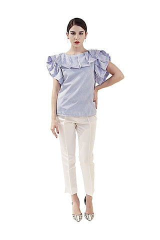 THE-RESORT-COLLECTION-TOPS-DAVID-MAISON-2017-DM5578T-BLUE-AND-WHITE-RUFFLE-TOP