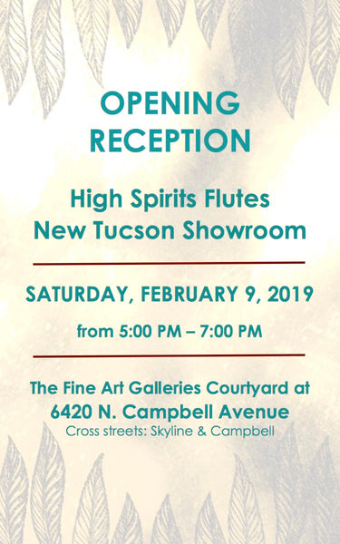 High Spirits Flutes Tucson Showroom Opening Reception Invitation